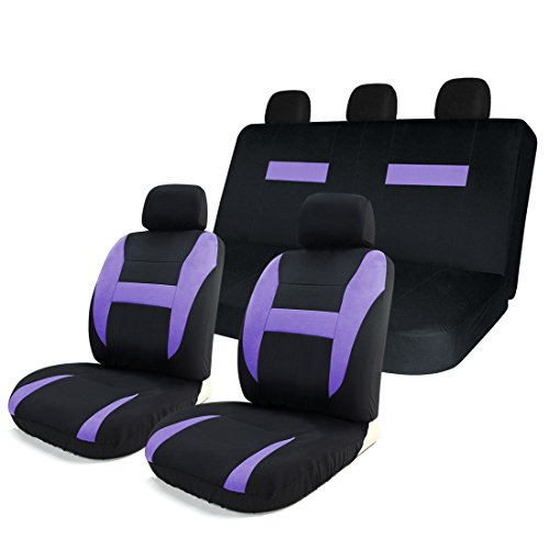 grey and purple car seat covers - 5