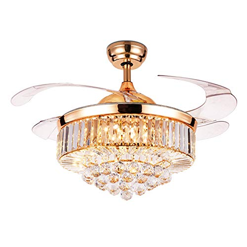 LUOLAX 42 inch Crystal Remote Control Gold Ceiling Fan Light with Three-Color Changes LED Retractable Blades Chandelier Decor (Rose Gold-Style 2) (Retractable Blade Fan)