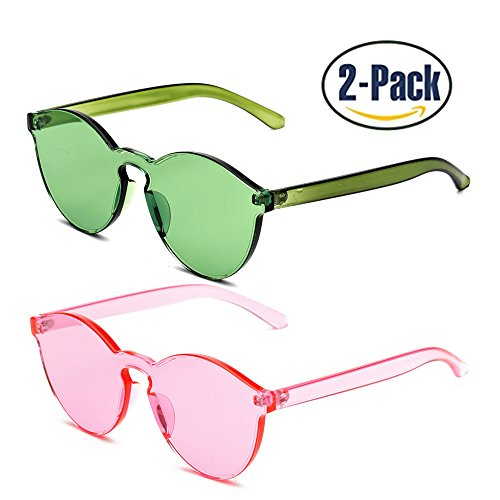 Samto One Piece Sunglasses, 1 or 2 Pack pc lens rimless colorful womens - Lens Glasses Colored
