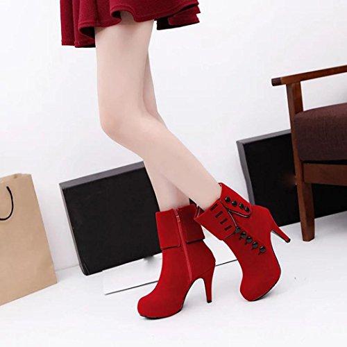 OverDose Frauen Damen Winter Stiefeletten High Heels Schuhe Plattform Buckle Stiefel Rot