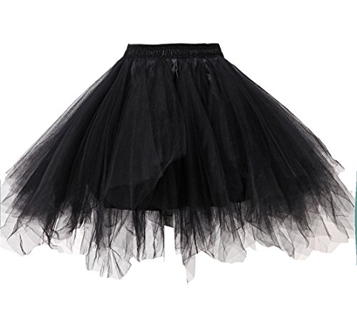 Kileyi Womens Tutu Costume Adult Tulle Skirt Short 1950s Vintage Fluffy Petticoat Black S