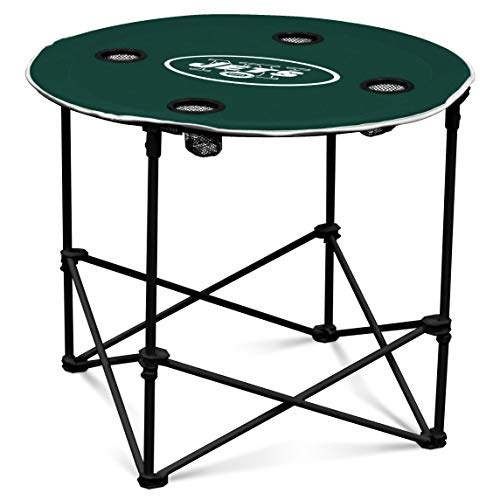 New York Jets  Collapsible Round Table with 4 Cup Holders and Carry Bag