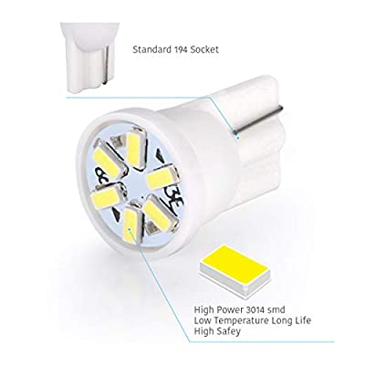LUYED 10 X 3014 6-EX Chipsets W5W 194 168 2825 Led Bulbs,Xenon White(super low current): Automotive