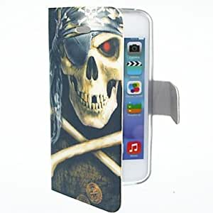 RC - Pirate Cool Skull Pattern PU Leather Case for iPhone 4/4S