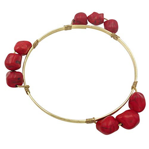 (Gypsy Jewels Wrapped Wire Enamel Theme Stackable Thin Simple Bangle Bracelet (3 Red Stone))