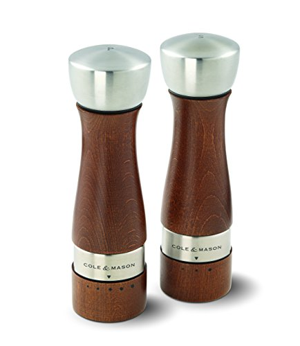 COLE & MASON Oldbury Wood Salt and Pepper Grinder Set - Wooden Mills Include Gift Box, Gourmet Precision Mechanisms and Premium Sea Salt & Peppercorns, Brown