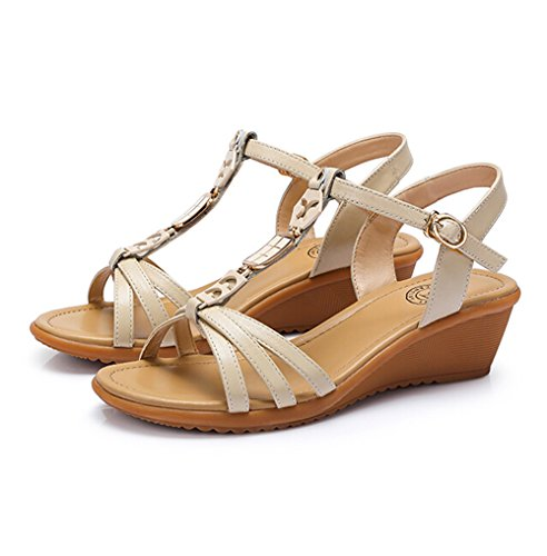 M Heel Womens Camel Decorated Size Bohemia Sandals EU Wedge Metal 39 Color Beige ZanqCw6
