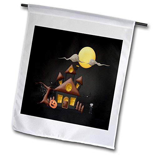 3dRose Beverly Turner Halloween Design - Haunted House, Frankenstein, Spooky Tree, Pumpkin, Big Moon, and Bats - 12 x 18 inch Garden Flag (fl_302007_1) -