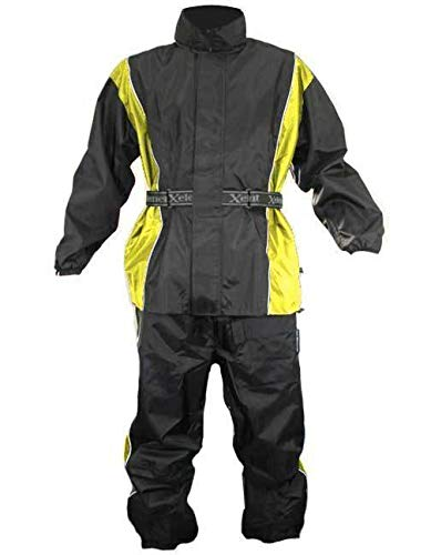 Xelement RN4782 Men's Black and Yellow 2-Piece Motorcycle Rainsuit - Large