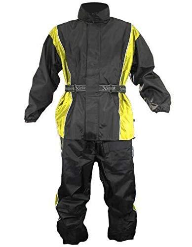 Breathable Rainsuits - Xelement RN4782 Men's Black/Yellow 2-Piece Motorcycle Rainsuit - Large