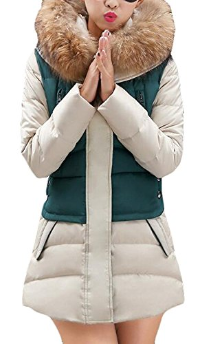 KDHJJOLY Comfortable Women Winter Color Block Long Down Coat Hooded Jacket 1Large...