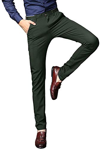 Plaid&Plain Men's Stretch Dress Pants Slim Fit Skinny Suit Pants 7108 Green 30W28L