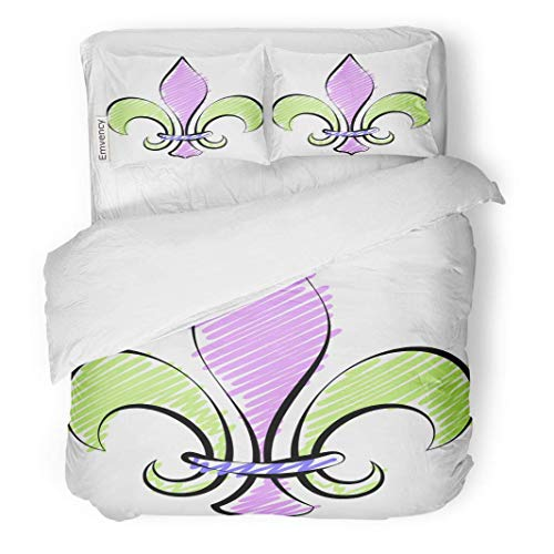 SINOVAL Decor Duvet Cover Set King Size Green Abstract Fleur De Lis Calligraphic LYS Flower Luce The Lily Antique 3 Piece Brushed Microfiber Fabric Print Bedding Set Cover