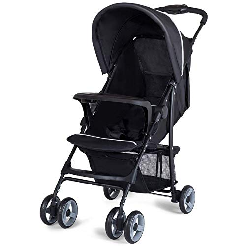 HONEY JOY Lightweight Baby Stroller, Foldable Stroller with 5-Point Safety System and Multi Position Reclining Seat, Black