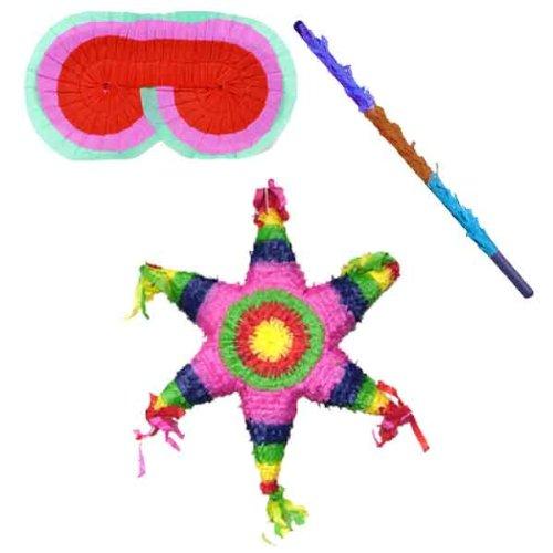 Mexican Star Pinata Kit -Includes Pinata,Pinata Buster,Pinata Blindfold Partyrama 6730UNQ-3D-PB-PBF