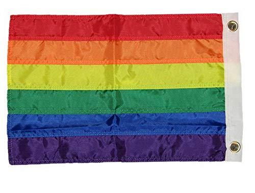 Mikash 12x18 Embroidered Gay Lesbian Rainbow Premium Nylon 12x18 Boat Flag Grommets | Model FLG - 2484
