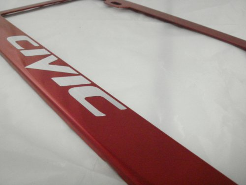 Honda Civic Red Stainless Steel License Plate Frame