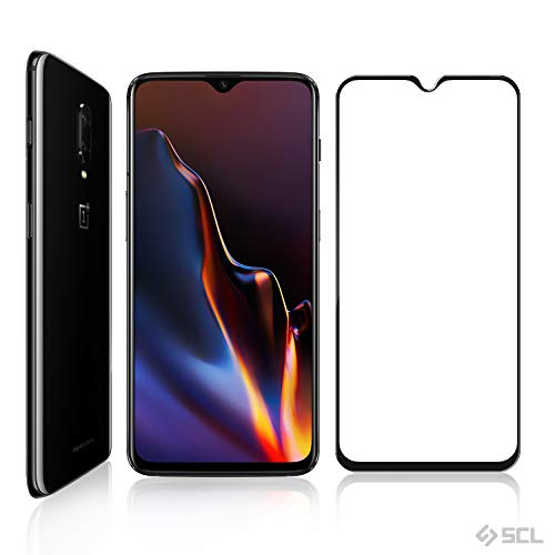 OnePlus 6T Screen Protector, SCL 3D Curved Full Coverage Dot Matrix Tempered Glass Screen Protector for OnePlus 6T(1 Pack), Case Friendly Updated Version-Black