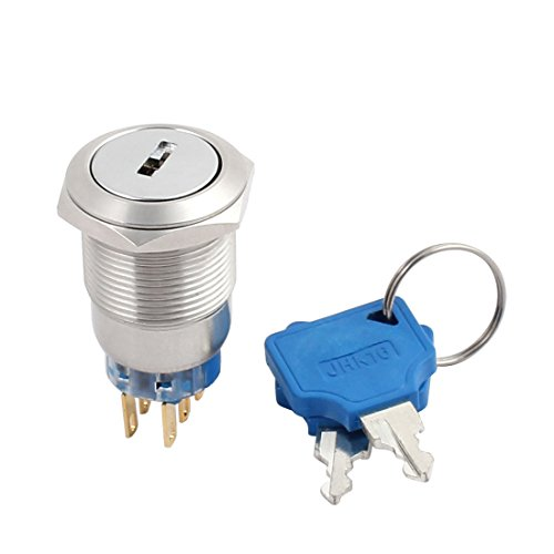 """uxcell 19mm 0.75"""" Mounting Thread Waterproof Flat Round DPDT Stainless Steel 2NO 2NC Latching Metal Key Switch with 2 keys UL Recognized"""