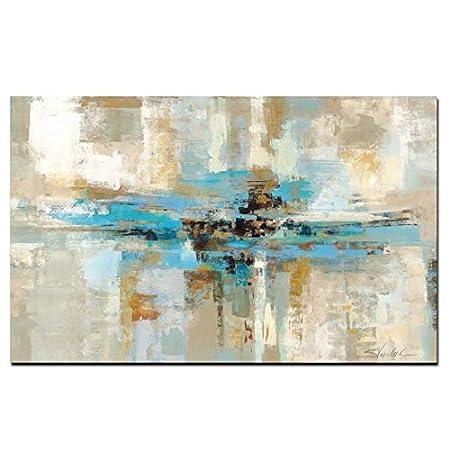 XIAOXINYUAN 100/% Peint /à la Peinture /à lhuile Abstraite Moderne Marron Bleu lart de Mur Mur de la Chambre Photo Une Salle de s/éjour D/écoration 30/×60cm
