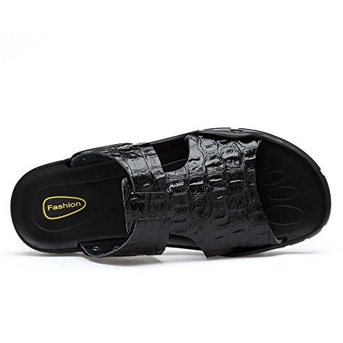 Playa Genuino Antideslizantes de de Casuales de los cocodrilo Negro Cuero Vaca Pantuflas con de Hombres Zapatos Textura Sandalias de Rq5fWW