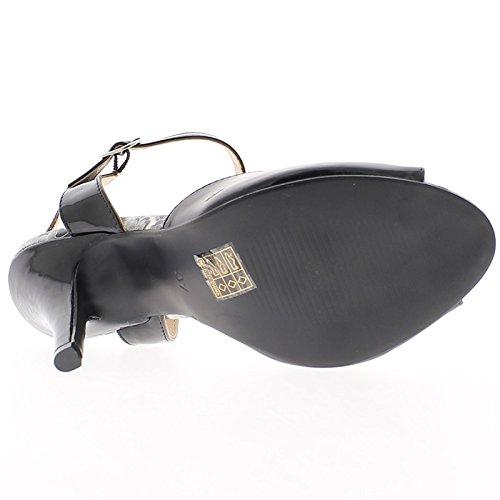 11cm Negro de Sandalias Barnizada Tacón en wRf8Z8