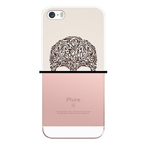 WoowCase Hülle Case für { iPhone SE iPhone 5 5S } Handy Cover Schutzhülle Schädel mit Beige Hintergrund