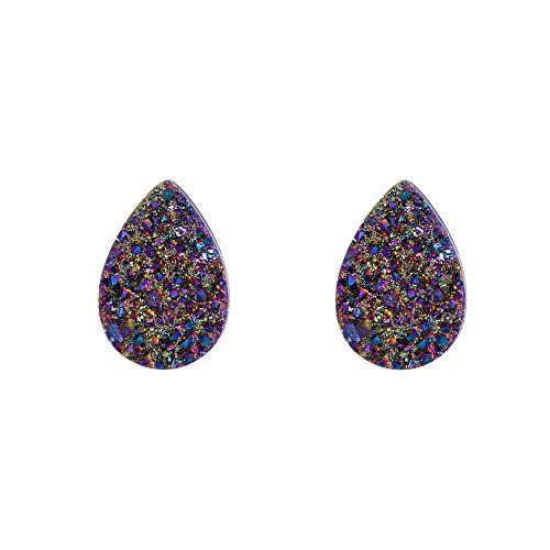 EleQueen Women's 925 Sterling Silver Dark Multicolor Gemstone Teardrop Shape Viloet Stud Earrings (Drop Quartz Drusy)