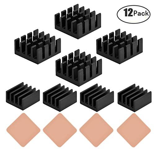 Angel Mall 12 pcs Raspberry Pi Heatsink Cooler Circuit Board Cooling  Kit,Fin for Cooling Cooler Raspberry Pi 3, Pi 2, Pi Model B+, with 3M 8810  Heat