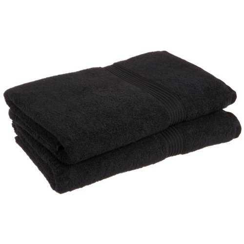 Superior 100% Long Staple Combed Cotton 2 Piece Bath Sheet Set, Black (Bath Black Sheets)