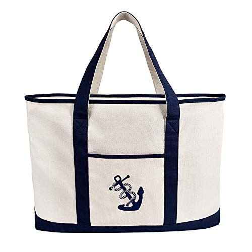 (Anchor Embroidered Beach Bag Canvas Large Shoulder Bag Zipper Shopping Pouch Tote Handbag Extra Heavy Duty 20 oz 18