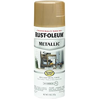 Rust-Oleum 286524 Stops Rust Metallic Spray Paint 11 Oz, Warm Gold