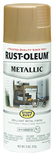Antique Finish Wood Gold - Rust-Oleum 286524 Stops Rust Metallic Spray Paint, 11 oz, Warm Gold
