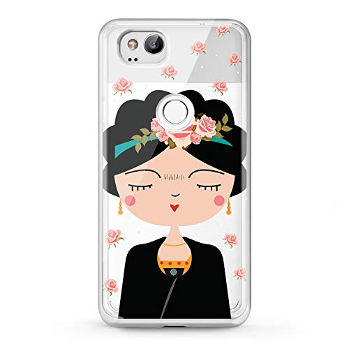 Lex Altern TPU Case Google Pixel 2 3 XL 2016 Clear Princess Beauty Phone Cute Cover Roses Print Pattern Gentle Frida Kahlo Pretty Protective Transparent Flexible Girl Silicone Quality Soft -