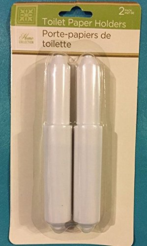 Bathroom Toilet Paper Roll Holder 2 Replacements Spring Loaded Spindles White.