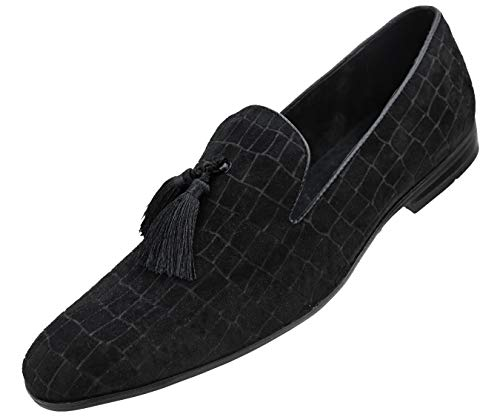 Amali Men's Exotic Velvet Loafer Slip On with Black Fabric Tassel Dress Shoe, Style Sobek