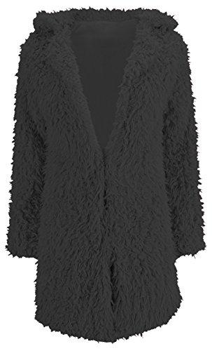 U-shot Cárdigan para mujer en piel sintética, efecto pelo, para invierno, cálido, manga larga negro