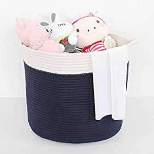 uxcell 15″ x 13.8″ Cotton Rope Storage Baskets,Extra Large Storage Bin Containers with Handles,Toy Box Organizer for Shelves Bins Home Decorations (Navy Blue,Cylindrical 2)