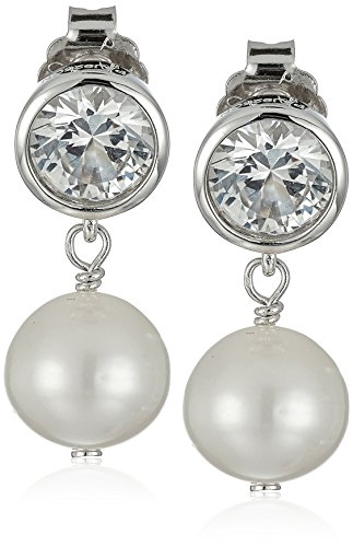 Drop White Stud - Sterling Silver Bezel Set Created White Sapphire and Freshwater Cultured Pearl Drop Stud Birthstone Earrings