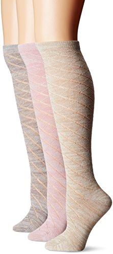 Muk Luks Women's 3 Pair Pack Pointelle Marl Knee High Socks, Multi, OSFM