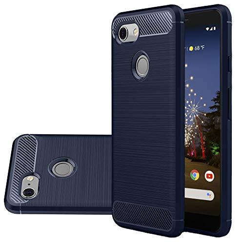 Vinve Carbon Fiber TPU Designed for Google Pixel 3a Case, Slim Shock Absorption Anti-Scratches Flexible Soft Protective Cover Case (Blue)
