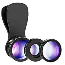 Mpow iPhone Lens, 3 in 1 Clip-On iPhone Camera Lens 180 Degree Fisheye Lens +0.65X Wide Angle + 10X Macro Lens Kit for iPhone 7/7 Plus /6/6s Plus,iOS & Samsung &Android Smartphones