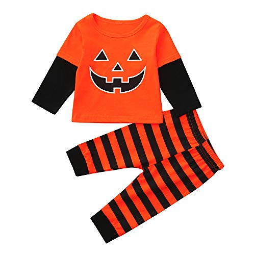 Fheaven (TM) 2Pcs Infant Baby Girls Boys Outfits Halloween Clothes Set Long Sleeve Patch Pocket Sweatshirt Tops + Striped Pants (6-12 Months, -