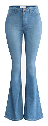 Women's Juniors Trendy High Waist Slim Denim Flare Jeans Bell Bottom Pants Blue US 16-18 (tag ASIAN size XL)