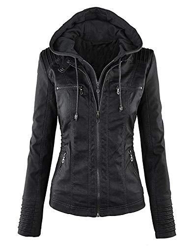 Blousons Veste Printemps Femme Capuche Eastway Manteaux et l'hiver Noir Automne pour Faux Cuir en Le qxTFaFY
