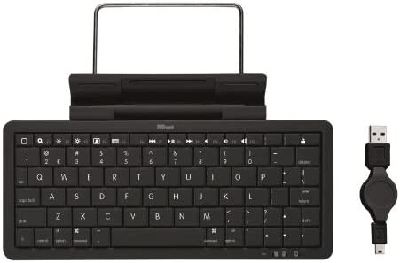 Trust Wireless Keyboard with Stand - Accesorio para portátil (Negro, iPad iPad2 iPhone iPod Touch, USB)