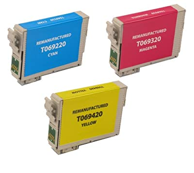 3 Pack Remanufactured Inkjet Cartridges for Epson T069 #69 T069220 T069320 T069420 Compatible With Epson Stylus C120, Stylus CX5000, Stylus CX6000, Stylus CX7000F, Stylus CX7400, Stylus CX7450, Stylus CX8400, Stylus CX9400 Fax, Stylus CX9475 Fax, Stylus N