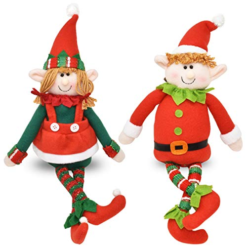 Set of 2 Christmas Elves Figurines 16quot Boy and Girl Elf Stuffed Toys Plush Sitting Decorative Shelf Sitters Characters for Holiday Home Décor Santa Helper Decorations Holiday Plush Characters Gift