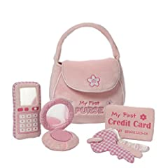 GUND wants to make playtime a more huggable experience - the My First Purse Playset is full of cute activity toys that are sure to delight baby. This five-piece play set includes an embroidered pink mini-purse complete with touch and close fa...