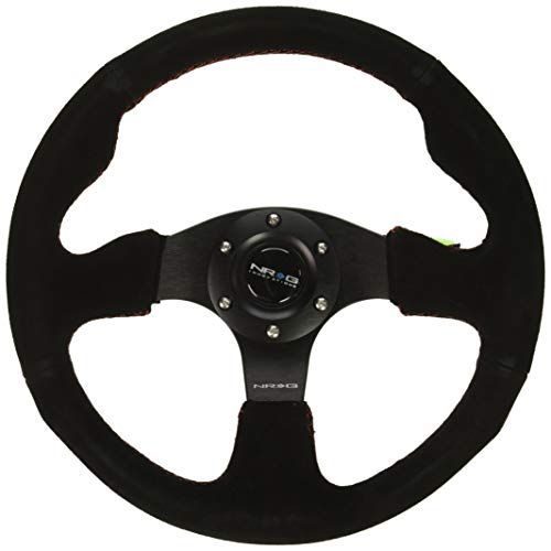NRG Innovations RST-012S-RS Reinforced Steering Wheel (320mm Sport Suede Steering Wheelwith  red stitch)